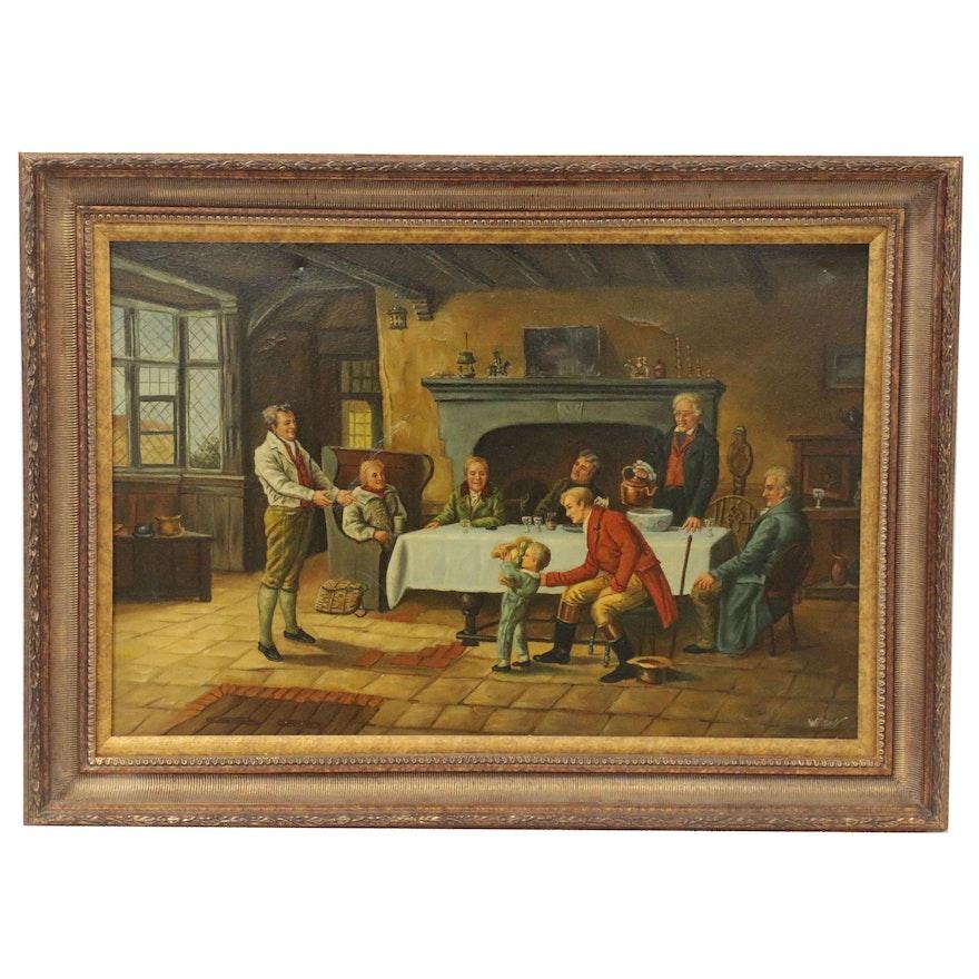 Interior Genre Scene Oil Painting, Late 20th Century