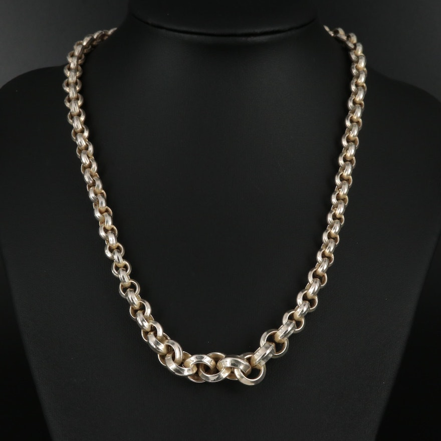 Graduated Sterling Silver Rolo Link Chain Necklace