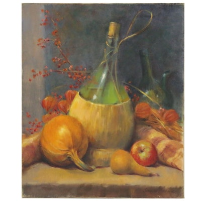 Jacques Zuccaire Oil Painting Harvest Still Life, Late 20th Century