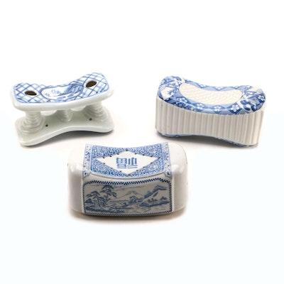 Japanese Porcelain Makura Koro and Takamakura Headrests, Mid-Late 20th Century