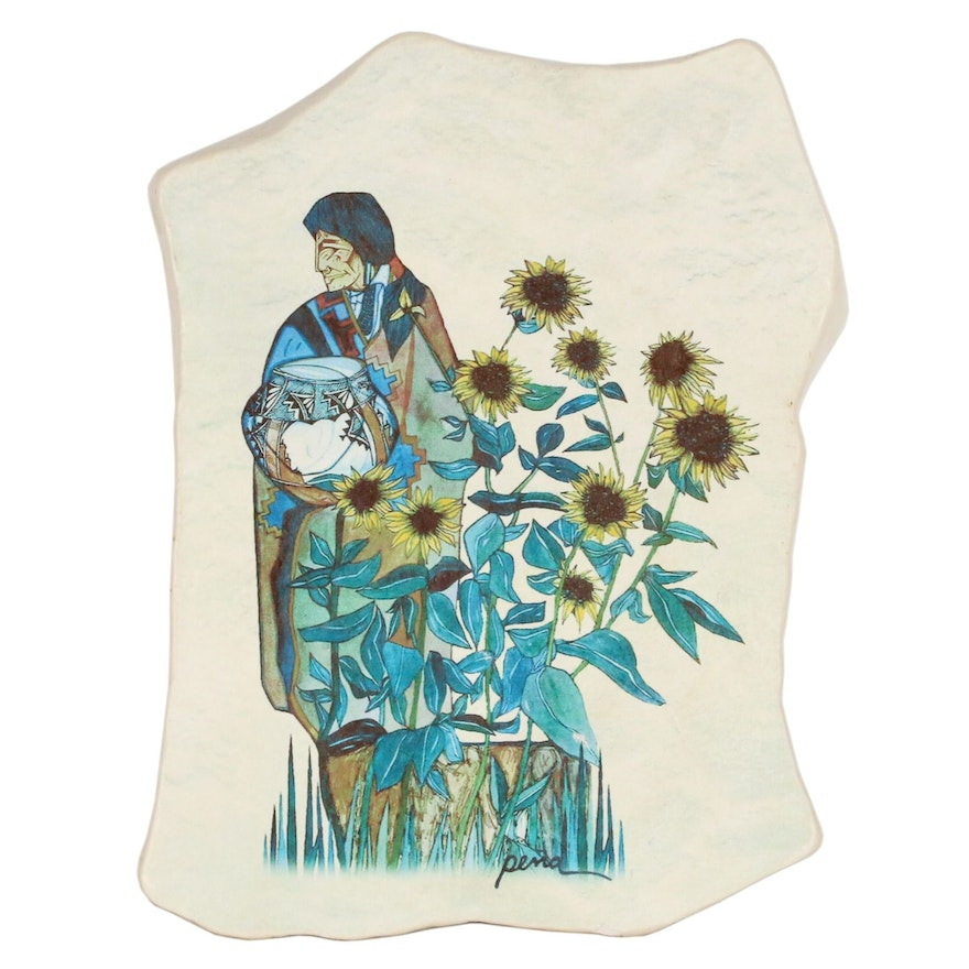 Amado M. Peña Jr. Watercolor on Clay Slab of Man with Sunflowers