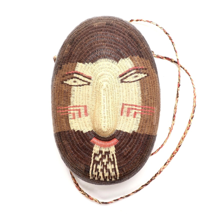 Handwoven Pacific North West Sweet Grass Souvenir Purse with Face