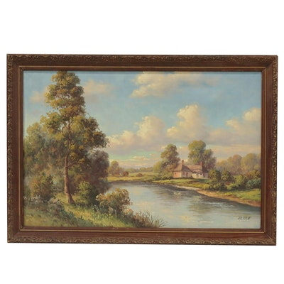 Dutch Landscape Oil Painting Attributed to Rhoden De Witt, 21st Century