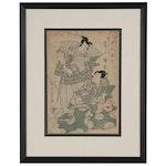 Utagawa Kunimaru Woodblock Print of Kabuki Actors, 1814