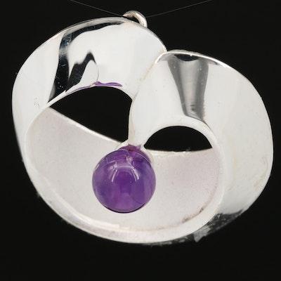 Sterling Silver Amethyst Circular Pendant