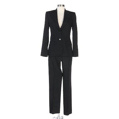 Dolce & Gabbana Black Wool Blend Pantsuit with Pick Stitch Detailing