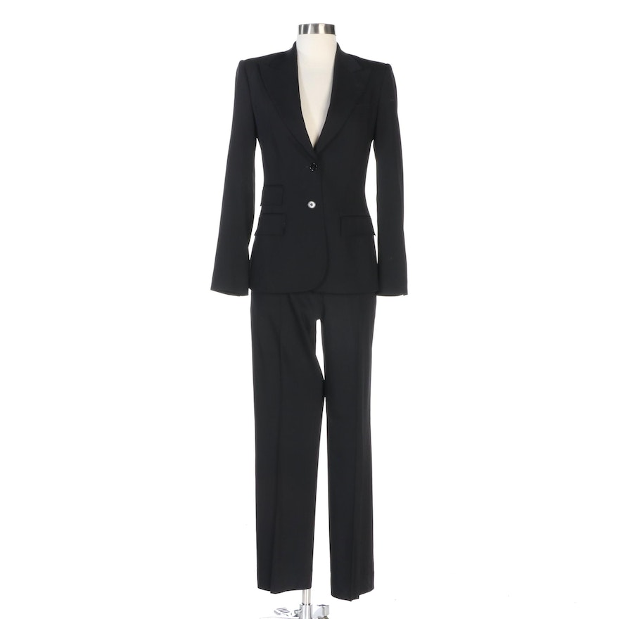 Dolce & Gabbana Black Wool Blend Pantsuit with Pick Stitch Detailing