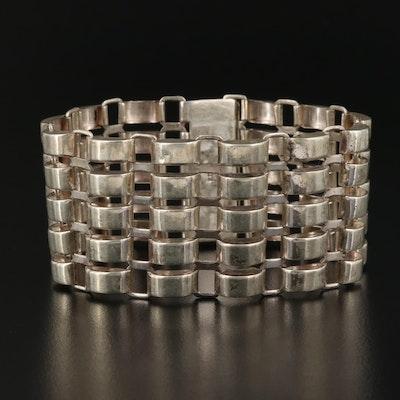 Vintage Sterling Silver Tank Track Bracelet