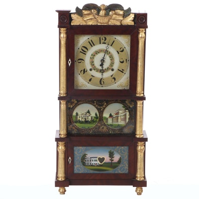 C. & L.C. Ives Mahogany Triple Decker Clock, Mid-19th Century