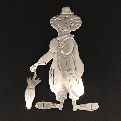Mexican Sterling Silver Clown Brooch with Dangling Umbrella