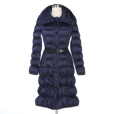 Burberry Navy Blue Quilted Goose Down Puffer Coat with Belt Options