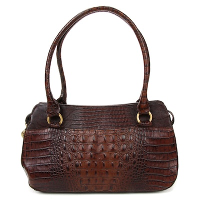 Brahmin Pecan Melbourne Crocodile Embossed Leather Shoulder Bag
