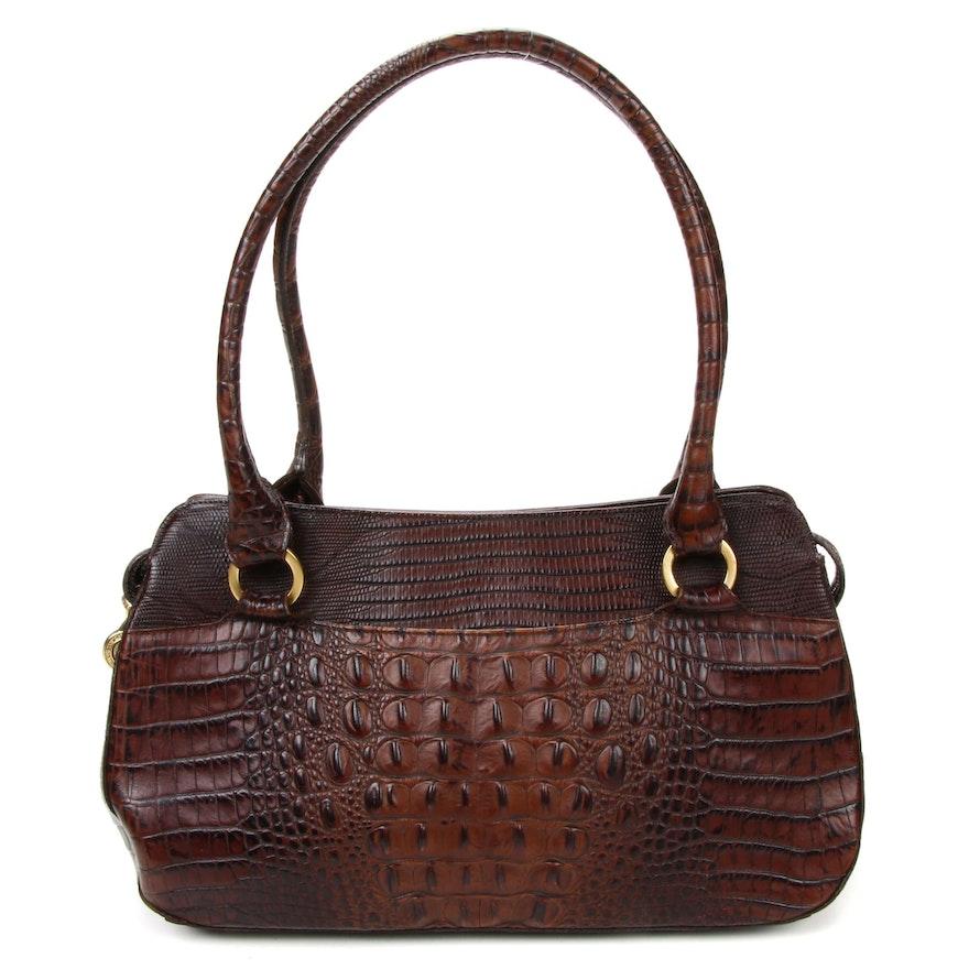 Brahmin Pecan Melbourne Crocodile Embossed Leather Shoulder Bag