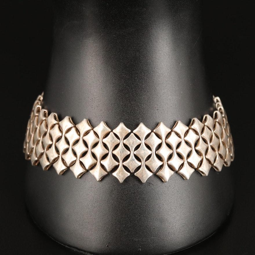Sterling Silver Lattice Link Bracelet