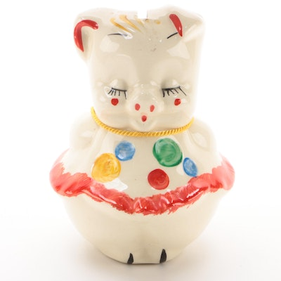 American Cold Painted Ceramic Piggy Bank, Early to Mid 20th Century
