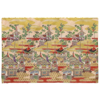 Japanese Embellished Washi Kōzo Mulberry Paper with a Cityscape Pattern