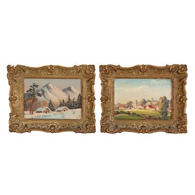 Miniature Landscape Oil Paintings, Late 20th Century