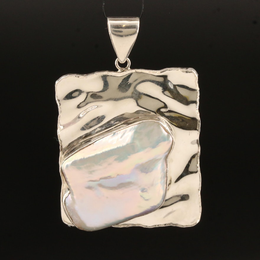 Sterling Silver Baroque Pearl Rectangular Rippled Pendant