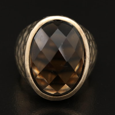 Sterling Silver Smoky Quartz Ring Featuring Hammered Finish