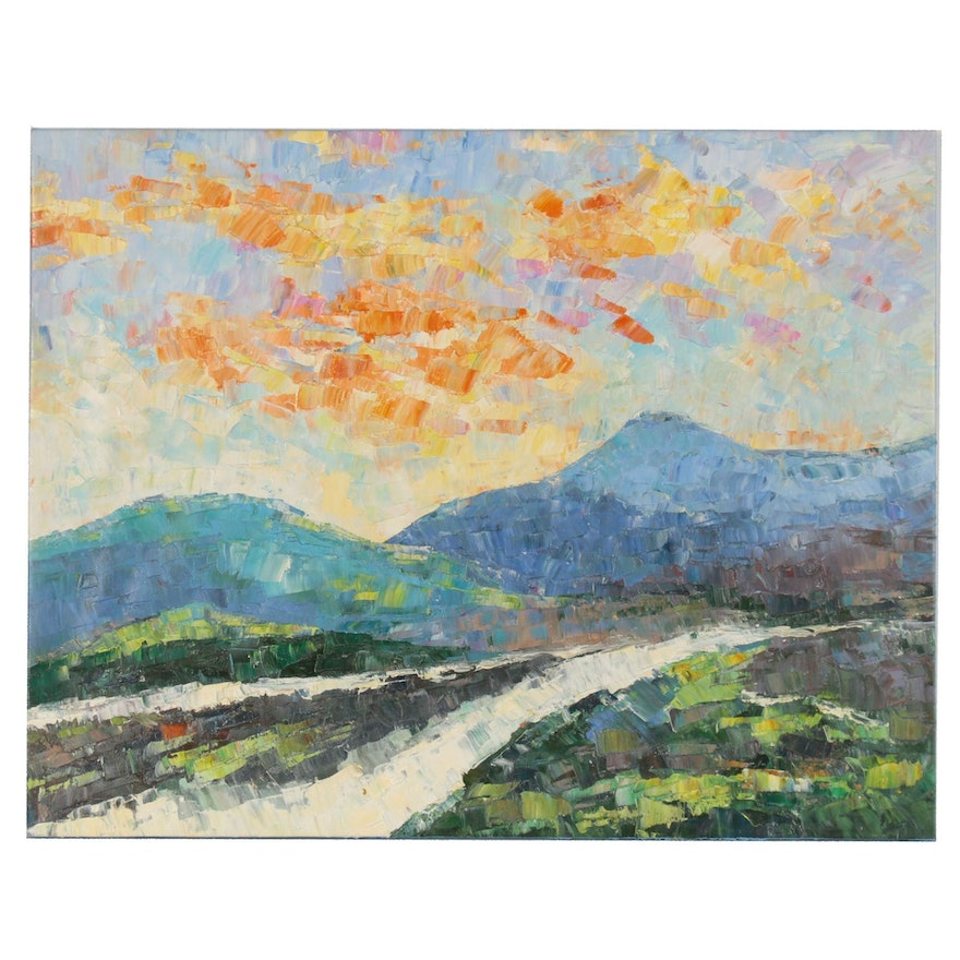 Impressionist Style Impasto Oil Painting of Mountain Landscape