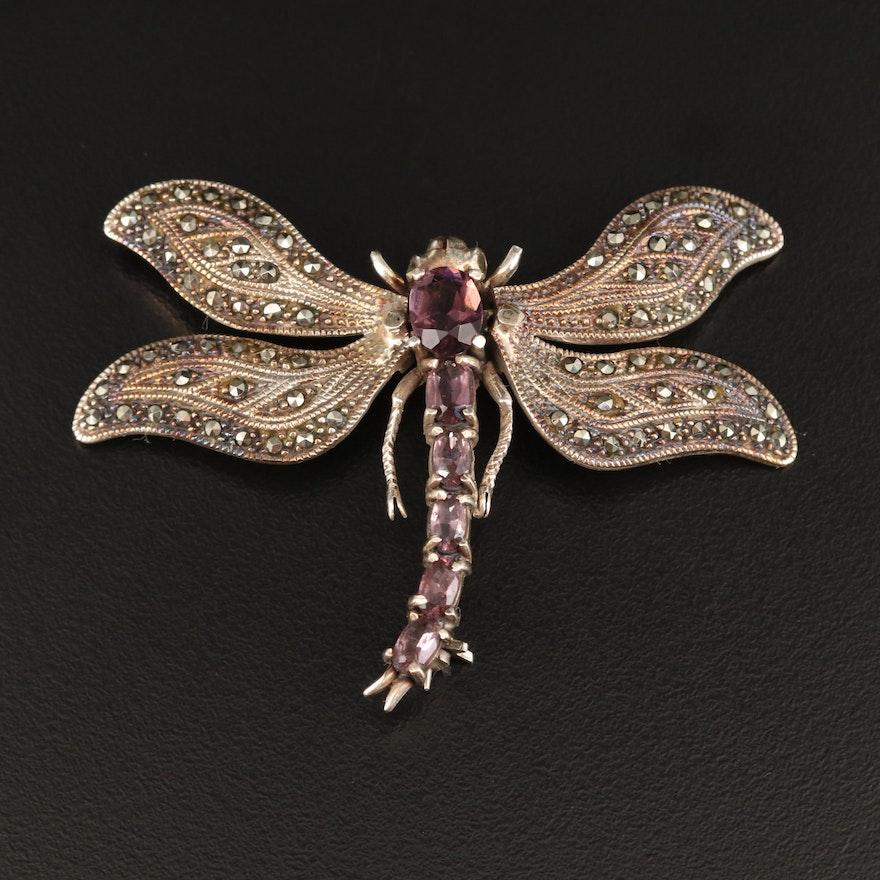 Sterling Silver Dragonfly Trembler Brooch
