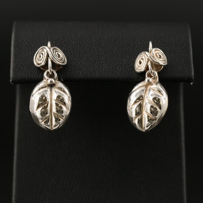 Signed Mexican Sterling Silver Leaf Dangle Earrings