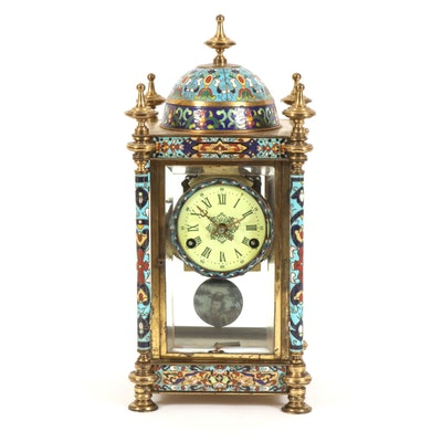Cloisonné Mantel Clock with Enameled Painted Sides of  Krishna Playing the Flute