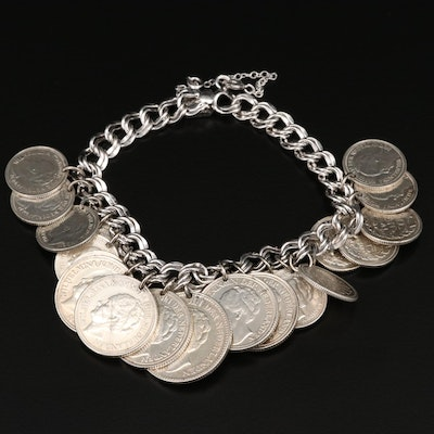 Sterling Silver Bracelet with Netherlands Coins