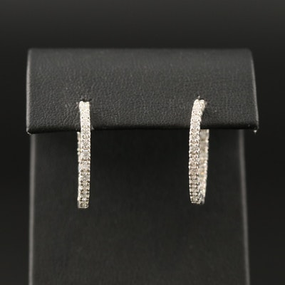 Sterling Silver Moissanite Inside-Out Hoop Earrings
