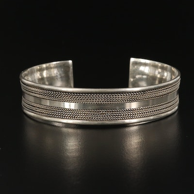 Sterling Silver Cuff with Woven Motif
