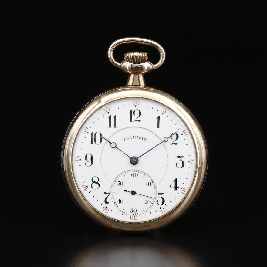 1919 Illinois Gold Filled Open Face Pocket Watch