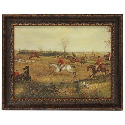 Oil Painting of Fox Hunt, 20th Century