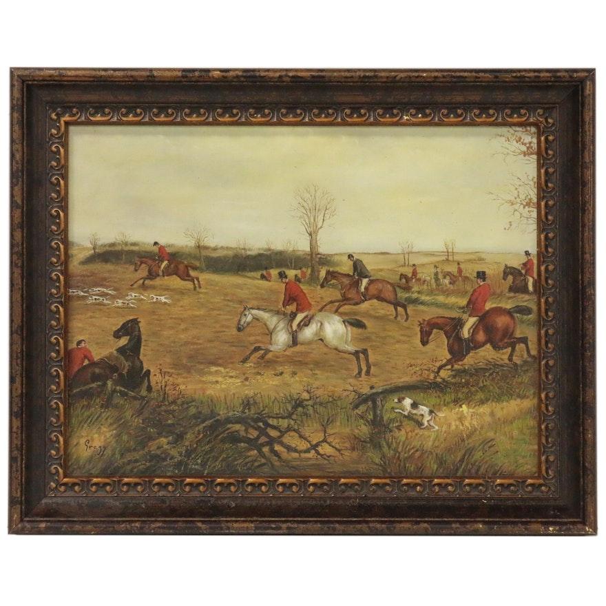 Oil Painting of Fox Hunt, 20th Century