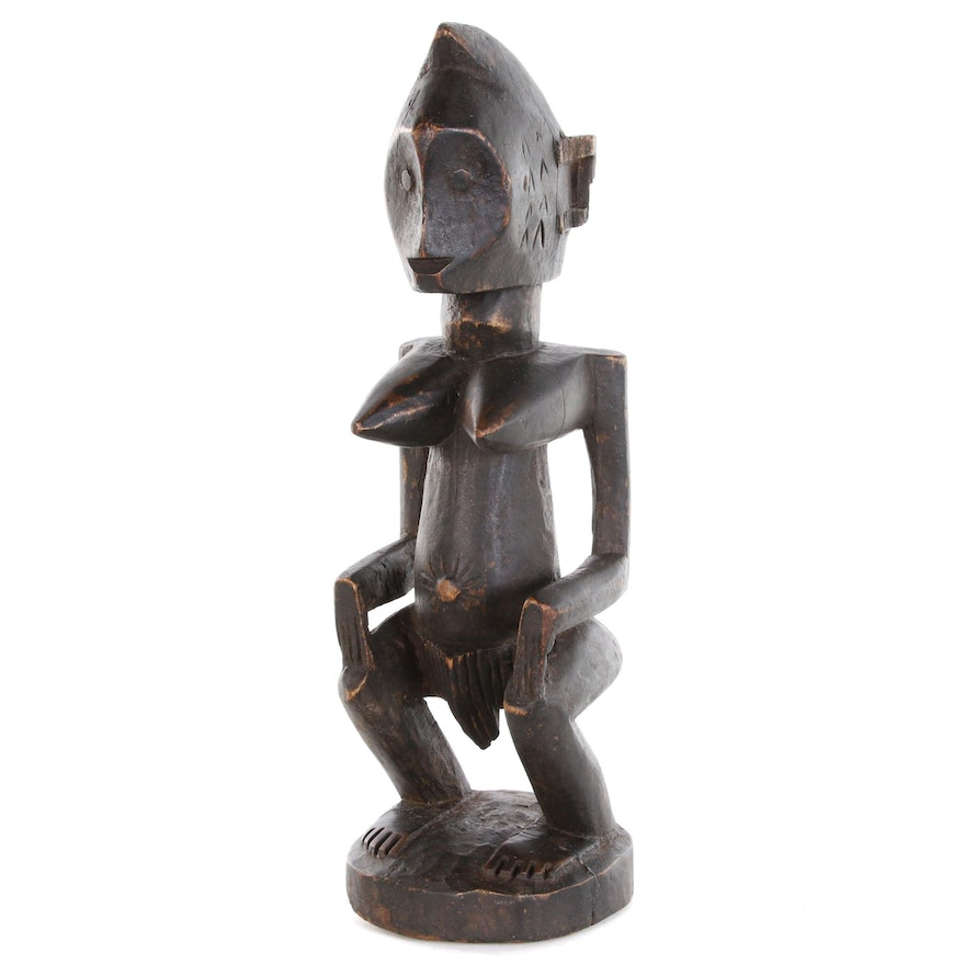 Lega Style Hand-Carved Wooden Figure, Democratic Republic of the Congo