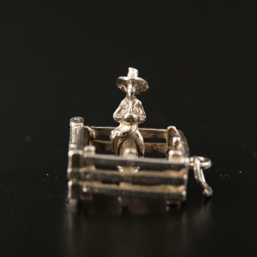 """Sterling Silver """"Don't Fence Me In"""" Cowboy Charm"""