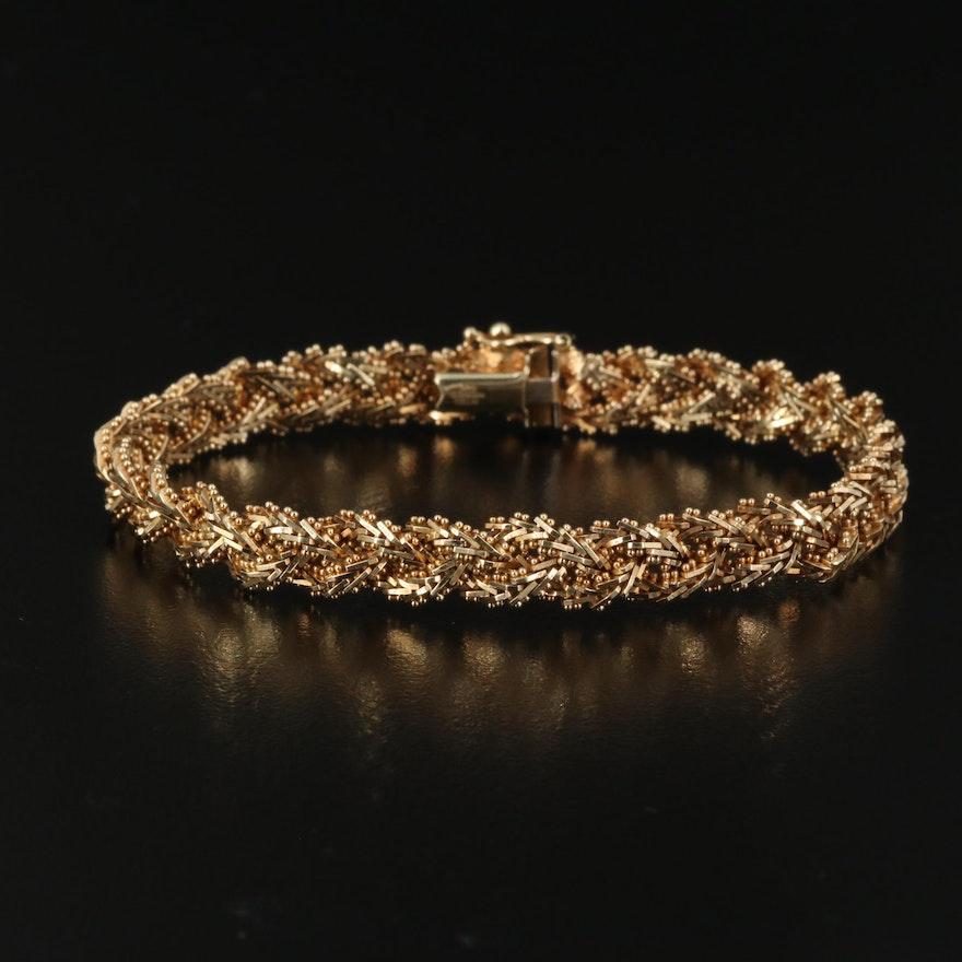 14K Braided Fancy Link Bracelet