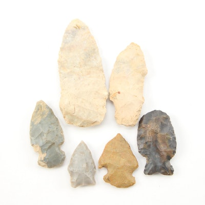 Six Knapped Stone Projectile Points