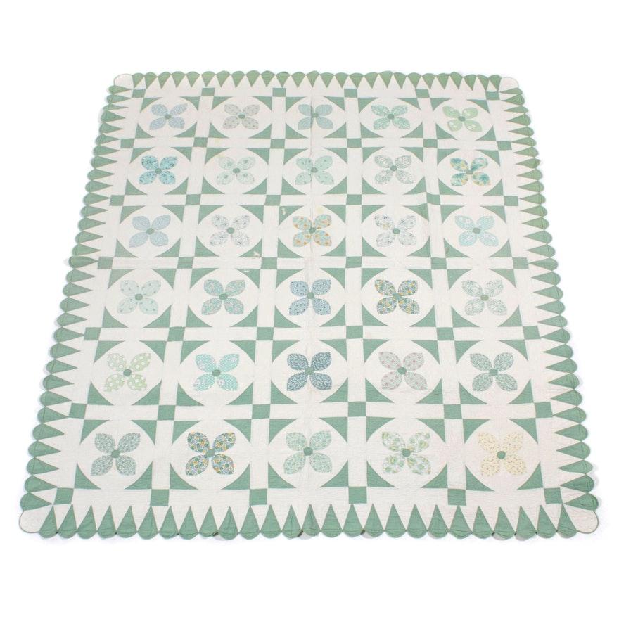 "Handmade ""Floral Block"" Quilt"
