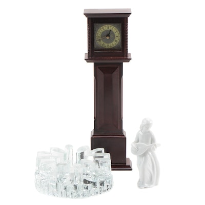 Bel Mondo Glass Warmer, Miniature Grandfather Clock and Porcelain Figurine