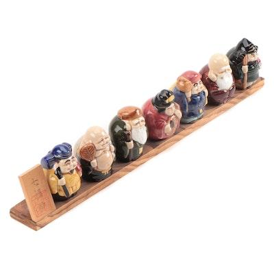 Japanese Seven Gods of Fortune Ceramic Figurines