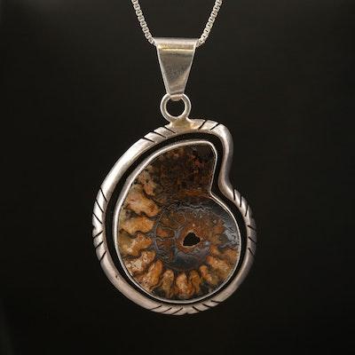 Charles Albert Sterling Ammonite Pendant Necklace
