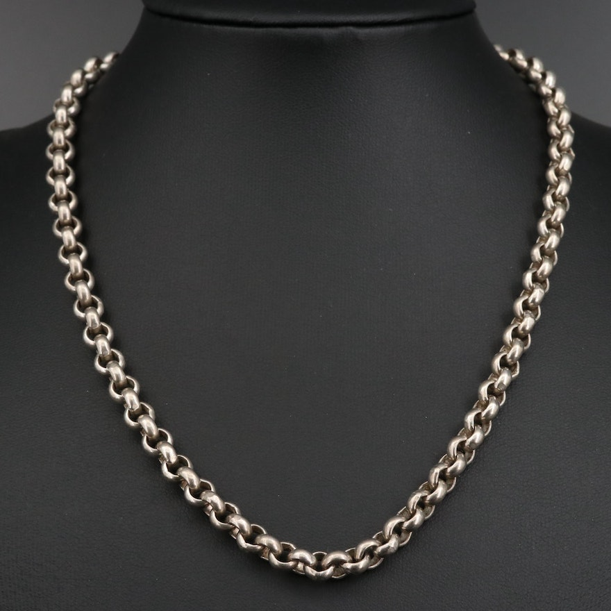 Sterling Silver Rolo Link Chain Necklace