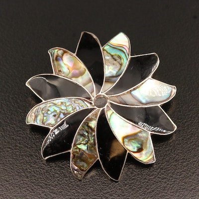 Signed Mexican Sterling Silver Inlay Pinwheel Converter Brooch