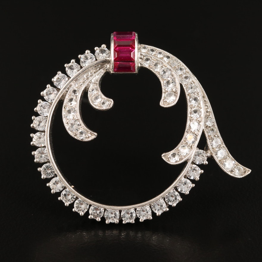 Vintage Sterling Silver Open Circle Brooch with Ruby and Spinel