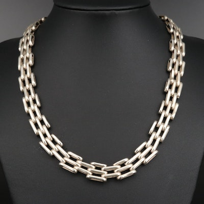 Mexican Sterling Silver Gate Link Chain Necklace