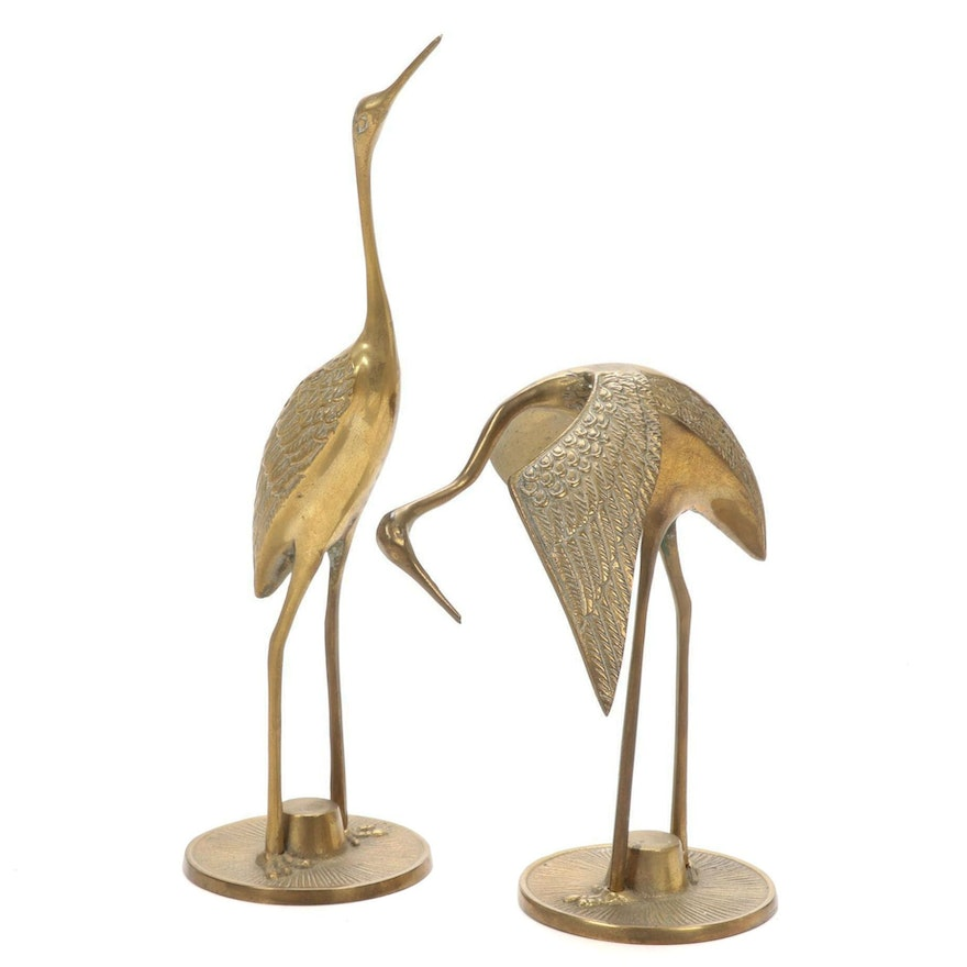Pair of Cast Brass Figural Cranes, Mid to Late 20th Century