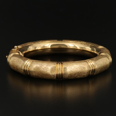 18K Hinged Bangle with Florentine Finish
