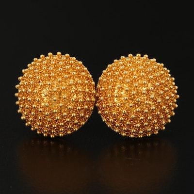 22K Cannetille Button Earrings