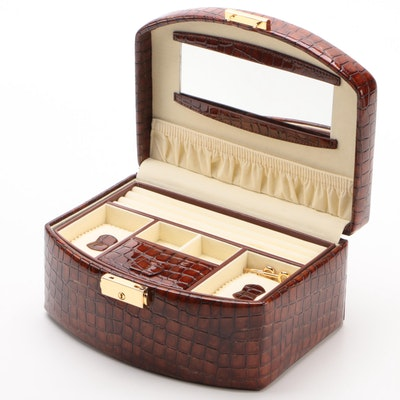 Champ Collection Locking Crocodile Embossed Faux Leather Jewelry Case