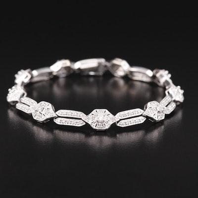 14K 1.41 CTW Diamond Link Bracelet with Milgrain Detail